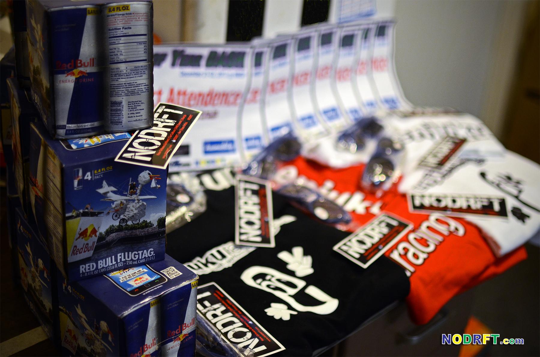NODRFT's gift pack 4pack of RedBull, Redbull Shades, EnjukuRacing Tee, ND Voucher, and slap stickers!